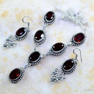 Gr 0185d parure collier boucles oreilles grenat mozambique bijoux argent 925 achat vente bijou