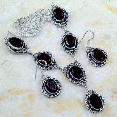 Gr 0187a parure collier boucles oreilles grenat mozambique bijoux argent 925 achat vente bijou