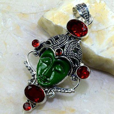 Gr 0190a pendentif grenat jaspe bouddha bijou argent 925 achat vente