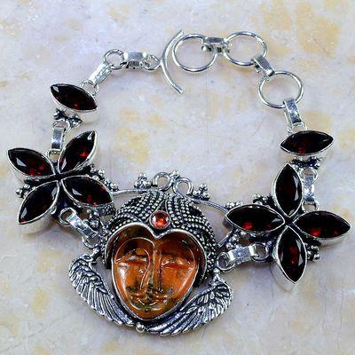 Gr 0199a bracelet grenat garnet bouddha jaspe lithotherapi gemme argent 925 achat vente bijou
