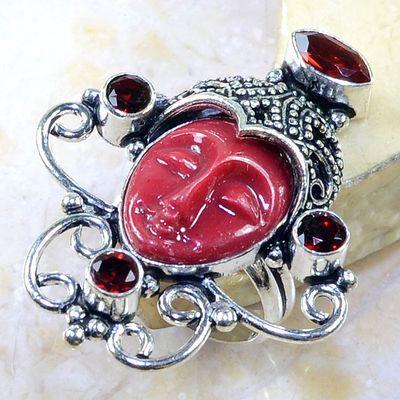 Gr 0203a bague t60 grenat garnet jaspe bouddha esoterisme mozambique achat vente bijou argent 925