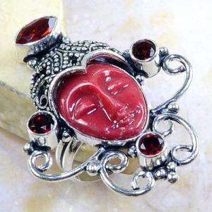 Gr 0203b bague t60 grenat garnet jaspe bouddha esoterisme mozambique achat vente bijou argent 925