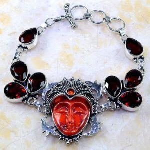 Gr 0302a bracelet grenat garnet bouddha jaspe lithotherapi gemme argent 925 achat vente bijou