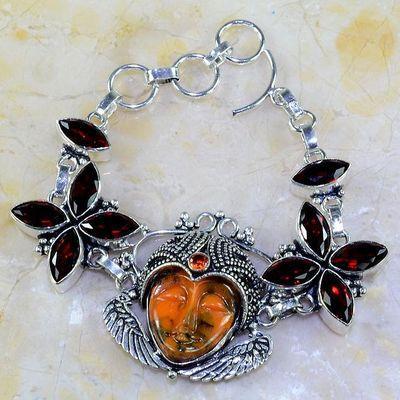 Gr 0303a bracelet grenat garnet bouddha jaspe lithotherapie gemme argent 925 achat vente bijou