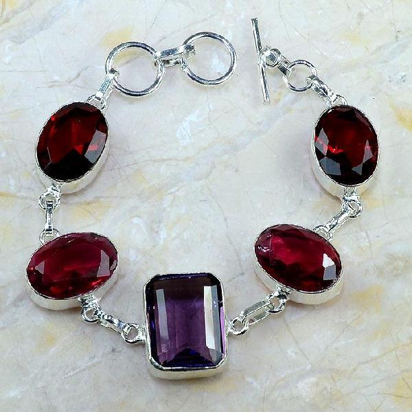 Gr 0404a bracelet grenat garnet amethyste lithotherapi gemme argent 925 achat vente bijou