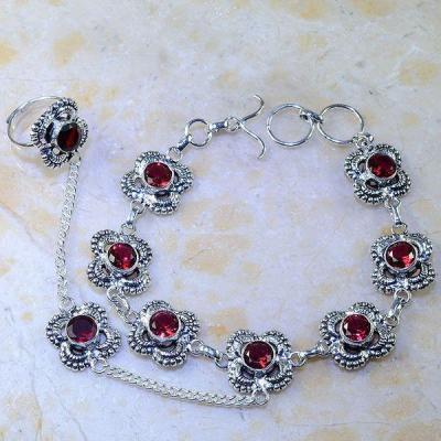 Gr 0430a bracelet bague grenat garnet lithotherapie argent 925 achat vente bijou