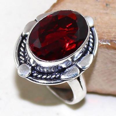 Gr 0491a bague medievale renaissance t57 grenat mozambique bijou argent 925