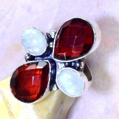 Gr 0536c bague medievale renaissance t57 grenat mozambique pierre lune bijou argent 925