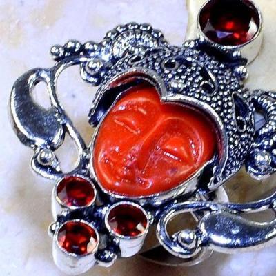 Gr 0558c bague chevaliere bouddha t59 grenat mozambique pierre bijou argent 925