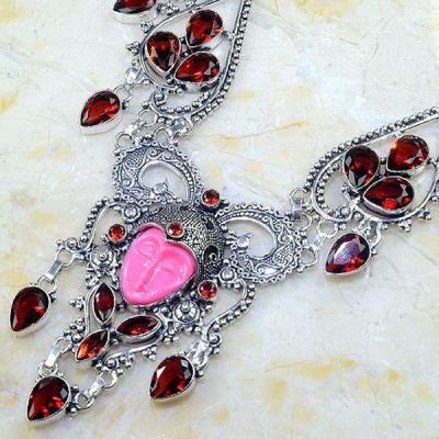 Gr 0562b collier parure bouddha grenat mozambique achat vente bijou esoterique argent 925