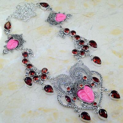 Gr 0563a collier parure bouddha grenat mozambique achat vente bijou esoterique argent 925