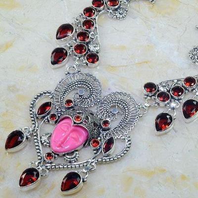 Gr 0564b collier parure bouddha grenat mozambique achat vente bijou esoterique argent 925