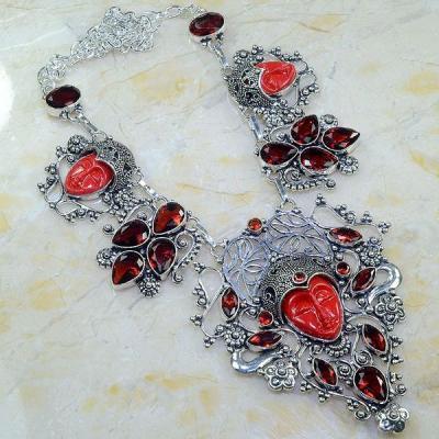 Gr 0565a collier parure bouddha grenat mozambique achat vente bijou esoterique argent 925