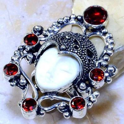Gr 0586a bague chevaliere t60 bouddha grenat mozambique achat vente bijou argent 925 1