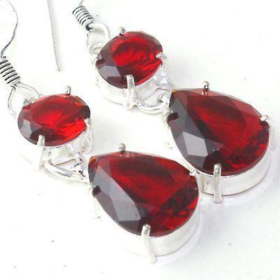 Gr 0624g boucles oreilles grenat achat vente bijoux argent 925