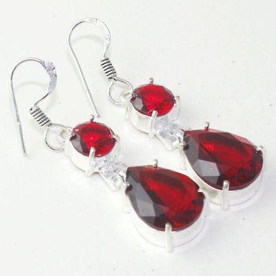 Gr 0627a boucles oreilles grenat achat vente bijoux argent 925