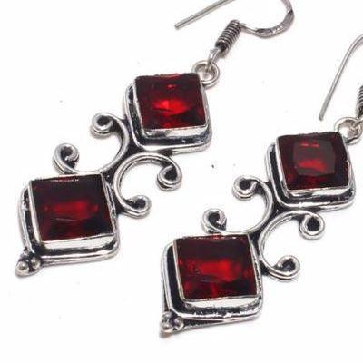 Gr 0704c boucles pendant oreilles grenat achat vente bijou ethnique argent 926