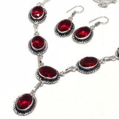 Gr 0774b collier boucles oreilles grenat 32gr 10x15mm achat vente bijou ethnique argent 925