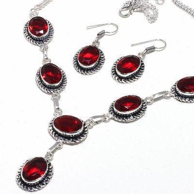 Gr 0775b collier boucles oreilles grenat 30gr 10x15mm achat vente bijou ethnique argent 925