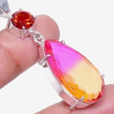 Gr 0792c pendentif pendant grenat 7gr resine achat vente bijou ethnique argent 925