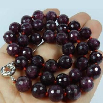 Gr 0832b collier sautoir perles facettees 10mm grenat achat vente argent 925