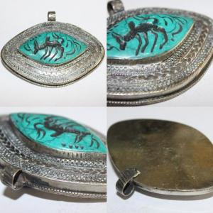 Int 034 pendentif antique afghan turquoise intaille zebu 2