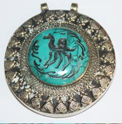 INT-039 Gros pendentif Antique Afghan en TURQUOISE à Intaille Antilope - 230 carats - 70x50 mm