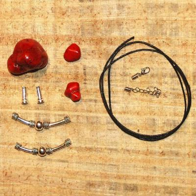 Kit 002a kit collier ethnique turquoise rouge argent tibetain loisirs creatifs