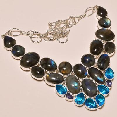 LAB-0300 - Magnifique COLLIER PARURE argent 925 LABRADORITE et TOPAZE BLEUE  635 carats