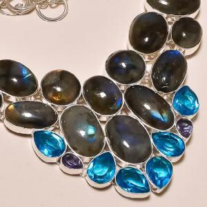 Lab 300b collier labradorite topaze bleue achat vente bijoux argent 925