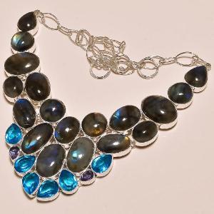 Lab 300c collier labradorite topaze bleue achat vente bijoux argent 925