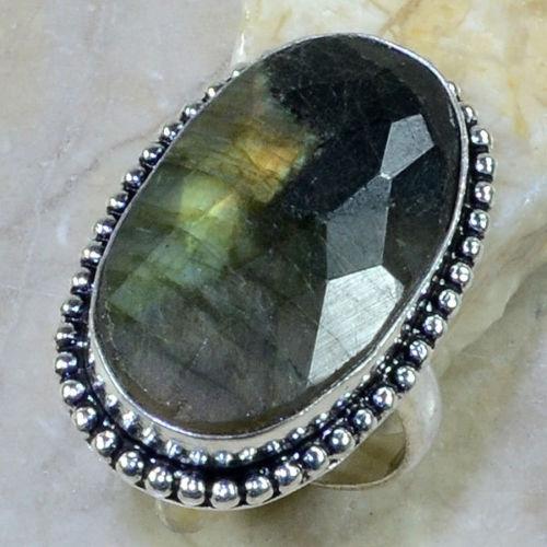 LB-0500 - Belle BAGUE T 60 en LABRADORITE et Argent 925 - 50 carats 10 gr