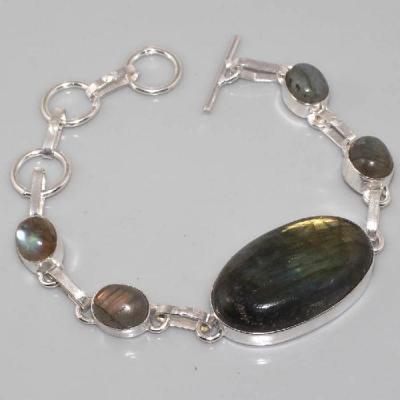LB-0508 - Superbe BRACELET en LABRADORITE et Argent 925 - 90 carats
