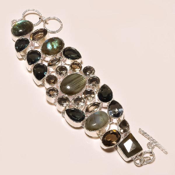 Lb 0523a bracelet labradorite quartz fume achat vente argent 925