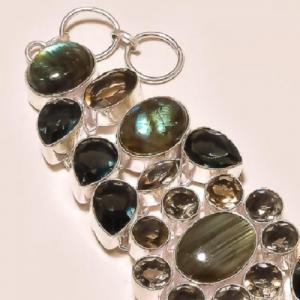 Lb 0523b bracelet labradorite quartz fume achat vente argent 925