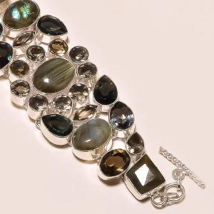 Lb 0523c bracelet labradorite quartz fume achat vente argent 925