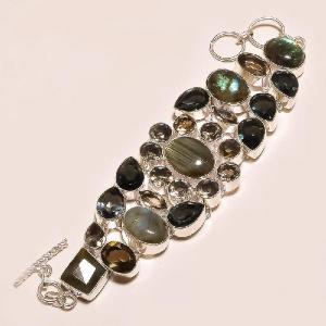 Lb 0523d bracelet labradorite quartz fume achat vente argent 925
