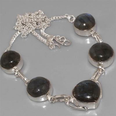 LB-0527 - Joli COLLIER PARURE en LABRADORITE et Argent 925 - 96 carats