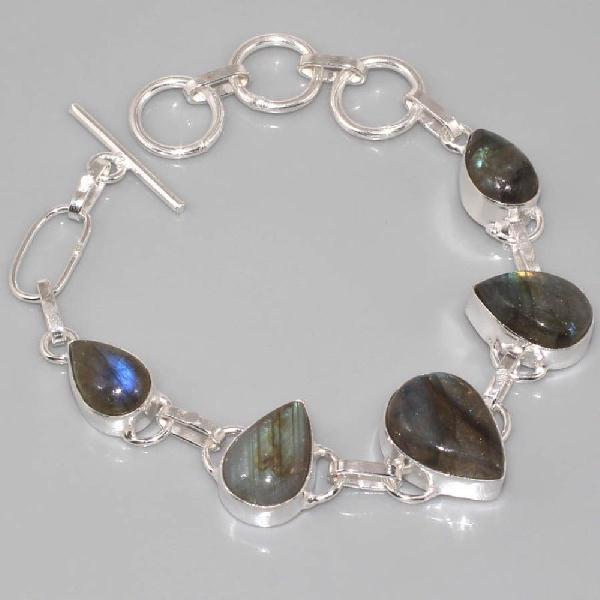 LB-0534 - Joli petit BRACELET en LABRADORITE et Argent 925 - 70 carats