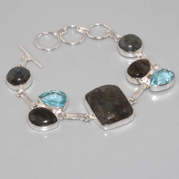 Lb 0535a bracelet labradorite topaze bleue achat vente argent 925