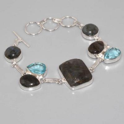 LB-0535 - BRACELET en LABRADORITE et TOPAZE bleue Argent 925 - 110 carats