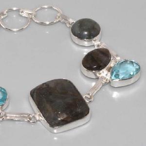 Lb 0535b bracelet labradorite topaze bleue achat vente argent 925