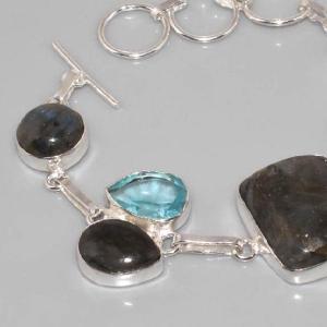 Lb 0535c bracelet labradorite topaze bleue achat vente argent 925