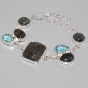 Lb 0535d bracelet labradorite topaze bleue achat vente argent 925