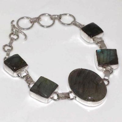 LB-0573 - joli BRACELET en LABRADORITE monture Argentée 925 - 100 carats