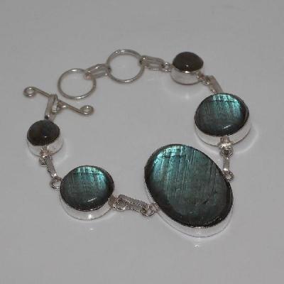 LB-0575 - joli BRACELET en LABRADORITE monture Argentée 925 - 127 carats