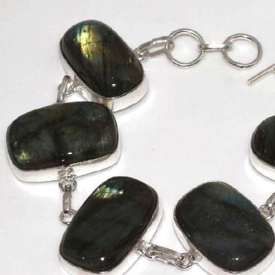 LB-0577 - joli BRACELET en LABRADORITE monture Argentée 925 - 220 carats