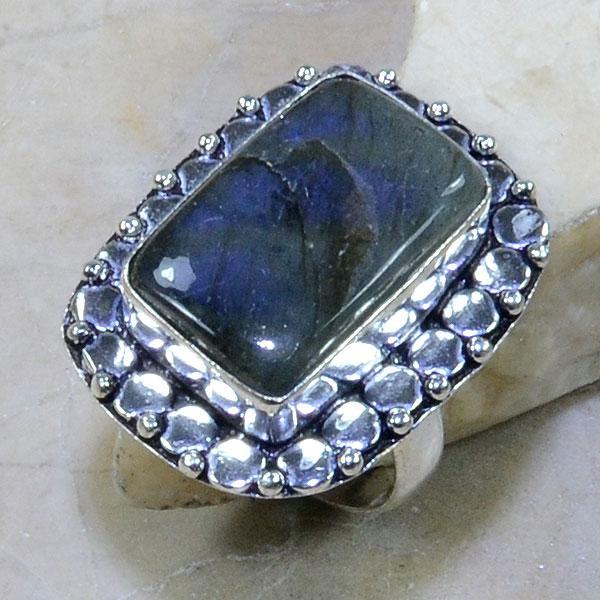 LB-0590 - Belle BAGUE T 57 en LABRADORITE et Argent 925 - 50.5 carats