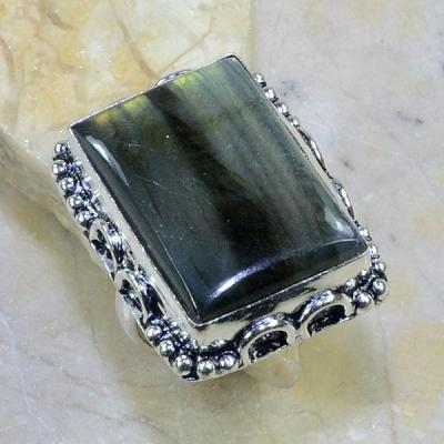 LB-0591 - Belle BAGUE T 62 en LABRADORITE et Argent 925 - 70.5 carats