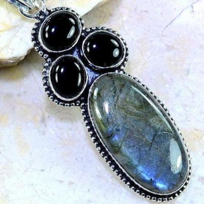 Lb 0695c pendentif pendant labradorite onyx noir achat vente bijou argent 925